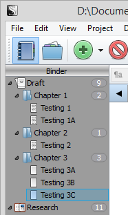 Scrivener - Add Chapter 3 sections to Blank Project - Lorelle VanFossen