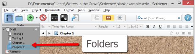 Scrivener - Add Folders - Lorelle VanFossen