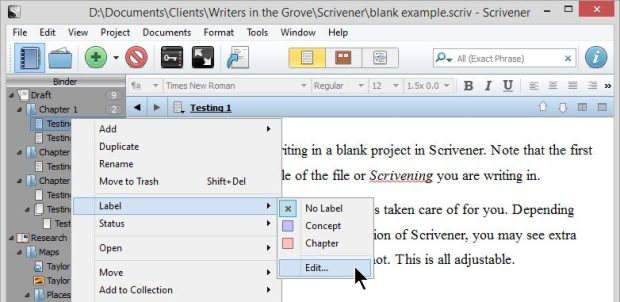 Scrivener - Add Label Menu - Lorelle VanFossen