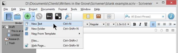 Scrivener - Add New Text or Folder - Lorelle VanFossen