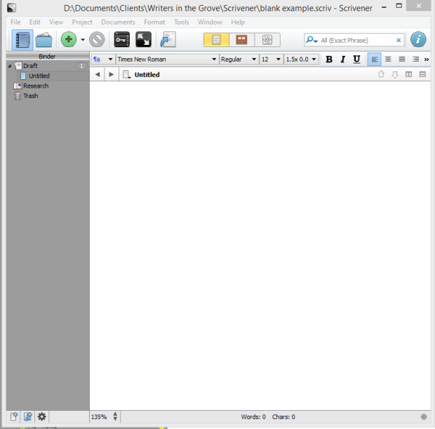 Scrivener Blank Project - Lorelle VanFossen for Writers in the Grove