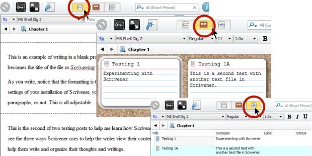 Scrivener - Comparing the 3 Views of Scrivener Editor - Lorelle VanFossen