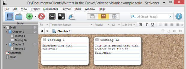Scrivener - Corkboard - Adding second text file - Lorelle VanFossen