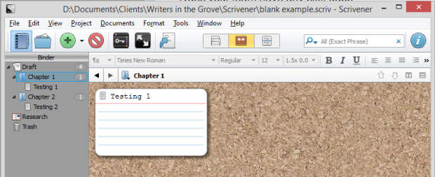 Scrivener - Corkboard view with a single text file - Lorelle VanFossen