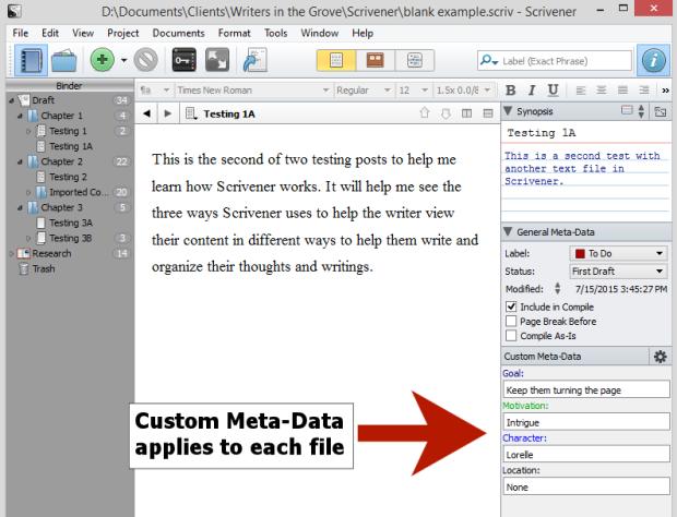 Scrivener - Custom Meta-Data on a document - Lorelle.