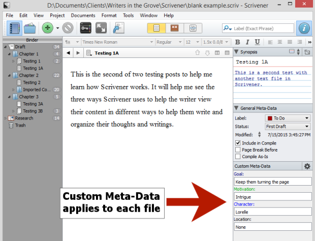 Scrivener - Custom Meta-Data on a document - Lorelle.