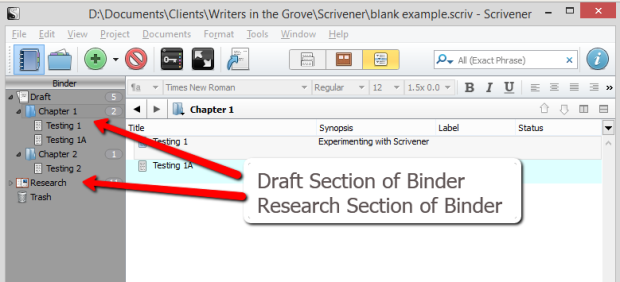 Scrivener - Draft and Research Sections of Binder - Lorelle VanFossen