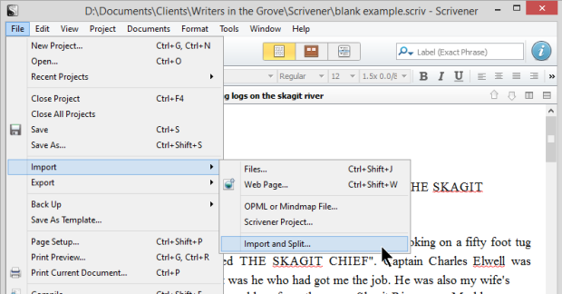 Scrivener - Import and Split Menu - Lorelle VanFossen