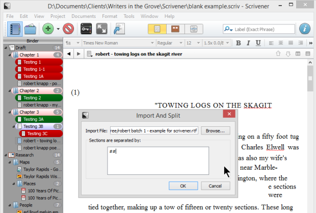 Scrivener - Import - Import and Split character defined - Lorelle