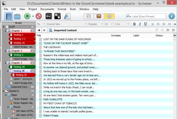 Scrivener - Import - Import and split document - Lorelle