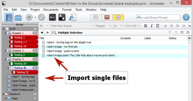 Scrivener - Import single files displayed in Binder and Composite view - Lorelle
