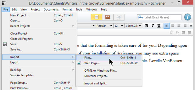 Scrivener - Import single files - Lorelle VanFossen