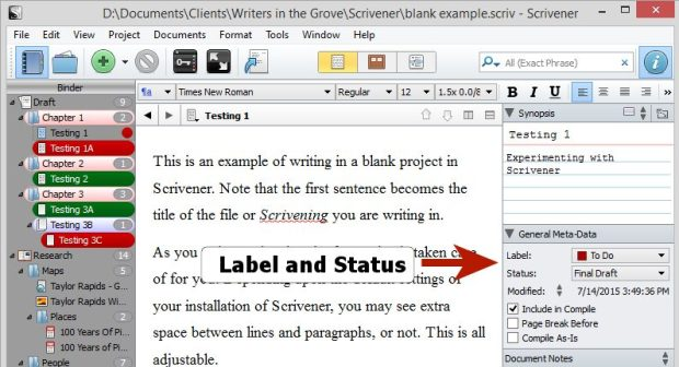 Scrivener - Inspector - Label and Status indicators - Lorelle VanFossen