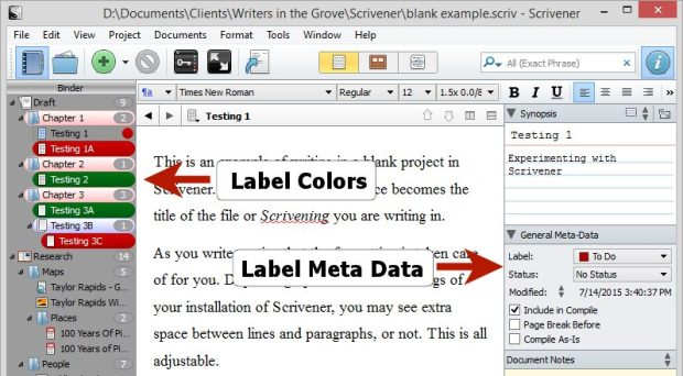 Scrivener - Label Colors in Binder and Inspector - Lorelle VanFossen