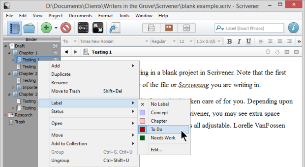 Scrivener - Labels - Add Label to Text and Folders  - Lorelle