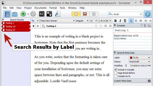 Scrivener - Labels - Search by Label - Lorelle
