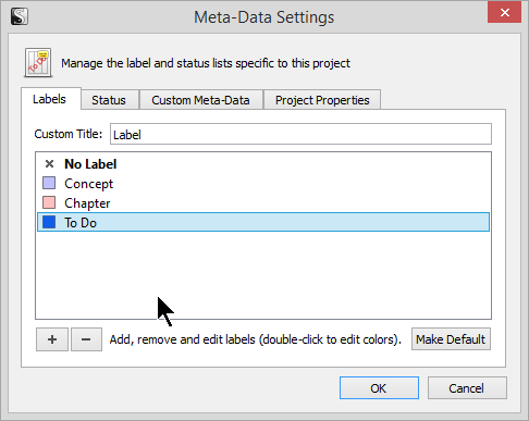 Scrivener - Meta-Data Add Label to Label List - Lorelle VanFossen