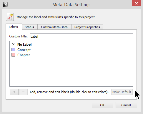 Scrivener - Meta-Data Default Label List - Lorelle VanFossen