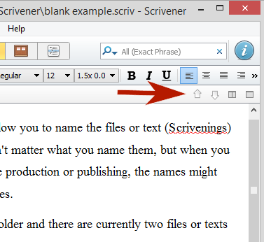 Scrivener - Navigation Arrows cycle through Scrivener content views - Lorelle VanFossen