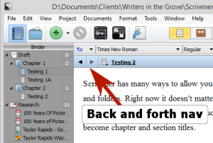 Scrivener - Navigation Arrows go back and forth along doc view path