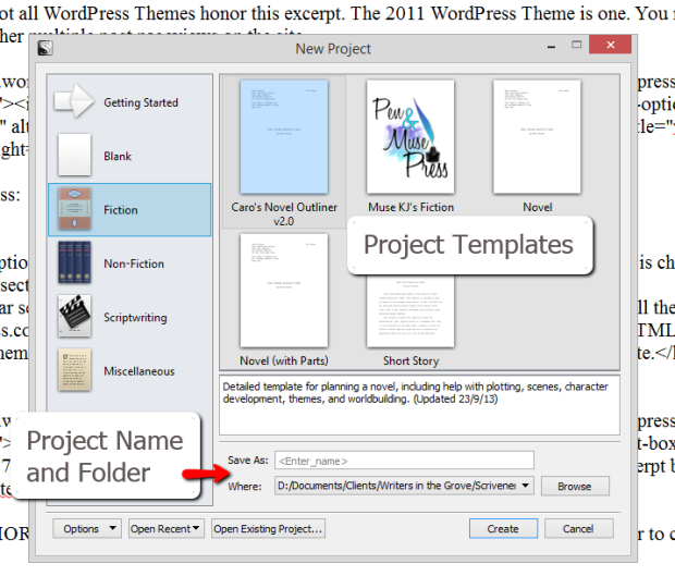 Scrivener - New Project and Project Templates Screen - Lorelle VanFossen
