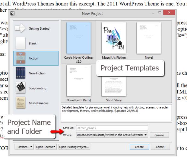Scrivener - New Project and Project Templates Screen - Lorelle VanFossen