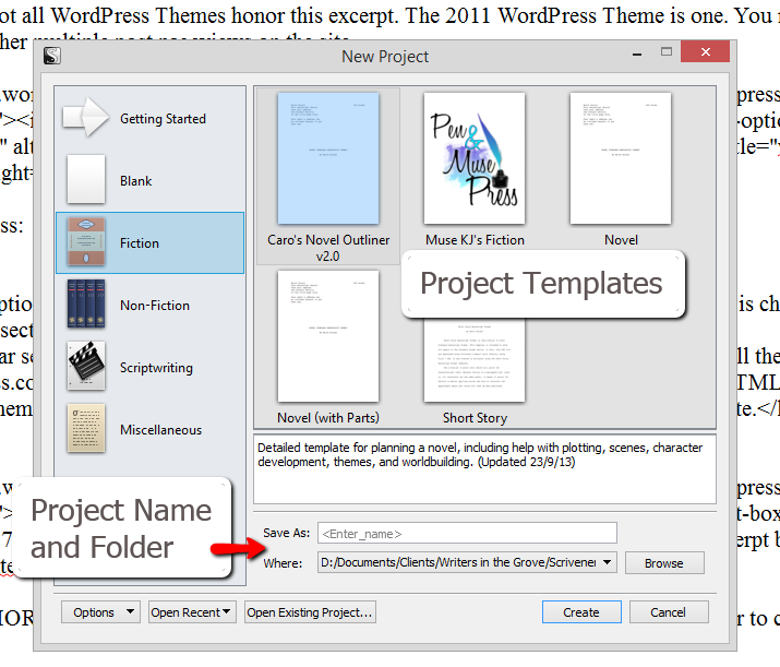 scrivener new project and project templates screen lorelle