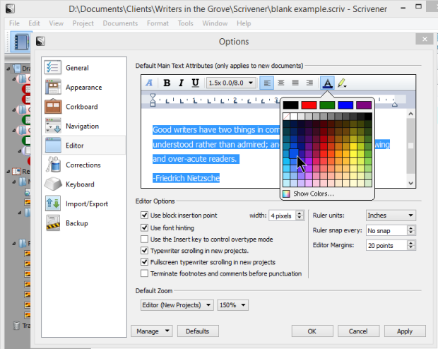 Scrivener - Options - Editor - Changing Font Color - Lorelle