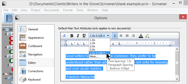 Scrivener - Options - Editor - Changing Line Spacing and Formatting - Lorelle