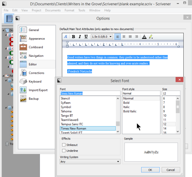 Scrivener - Options - Editor - Changing the Front - Lorelle