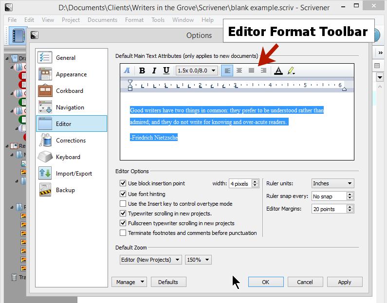 Scrivener - Options - Editor - Interface - Lorelle