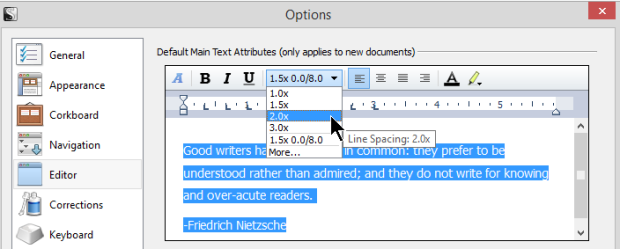 Scrivener - Options - Editor - Setting the Line Spacing - Lorelle