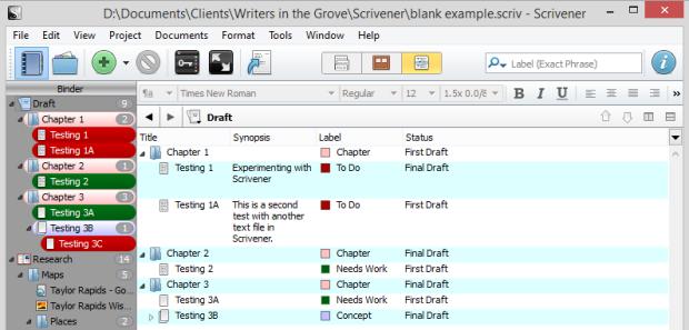 Scrivener - Outliner Default Fields for Labels and Status - Lorelle