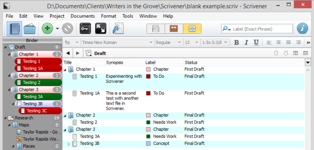 Scrivener - Outliner Default Fields for Labels and Status - Lorelle