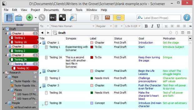 Scrivener - Outliner view with Custom Meta-Data Fields - Lorelle