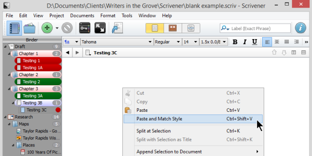 Scrivener - Paste and Match Style of Editor - Lorelle VanFossen