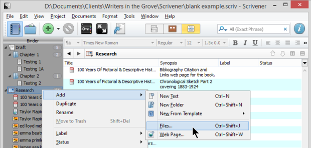 Scrivener - Research - Add files to Research Binder - Lorelle VanFossen