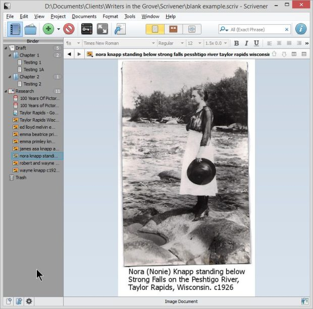 Scrivener - Research - Add photographs and images - Lorelle VanFossen