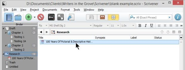 Scrivener - Research and Inspector - 1 Web Pages Saved as PDF in Outline List View - Lorelle VanFossen