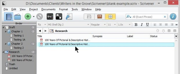 Scrivener - Research and Inspector - 2 Web Pages Saved as PDF in Outline List View - Lorelle VanFossen
