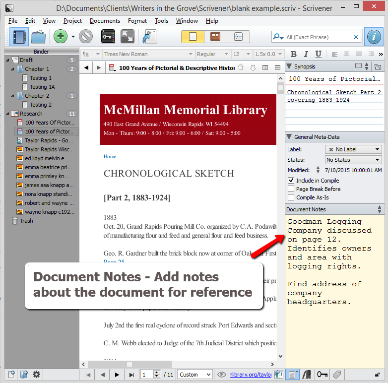 Scrivener - Research and Inspector - Add Document Notes about the document - Lorelle VanFossen