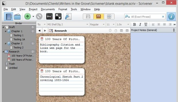 Scrivener - Research and Inspector - Corkboard Index Card View of 2 PDF web page documents - Lorelle VanFossen