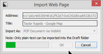 Scrivener - Research - Import Web Page Importing indicator in Research Binder - Lorelle VanFossen