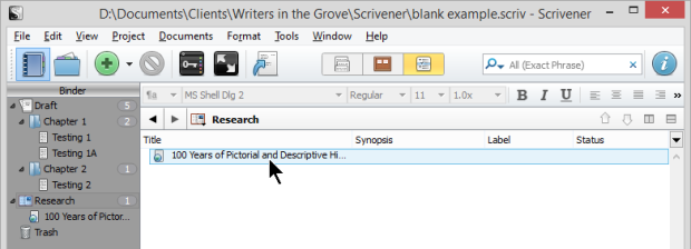 Scrivener - Research - Outline view of Web Page saved as linked document in Outliner - Lorelle VanFossen