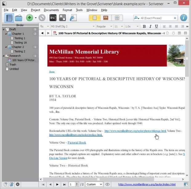 Scrivener - Research - PDF of Web Page 1 - Lorelle VanFossen