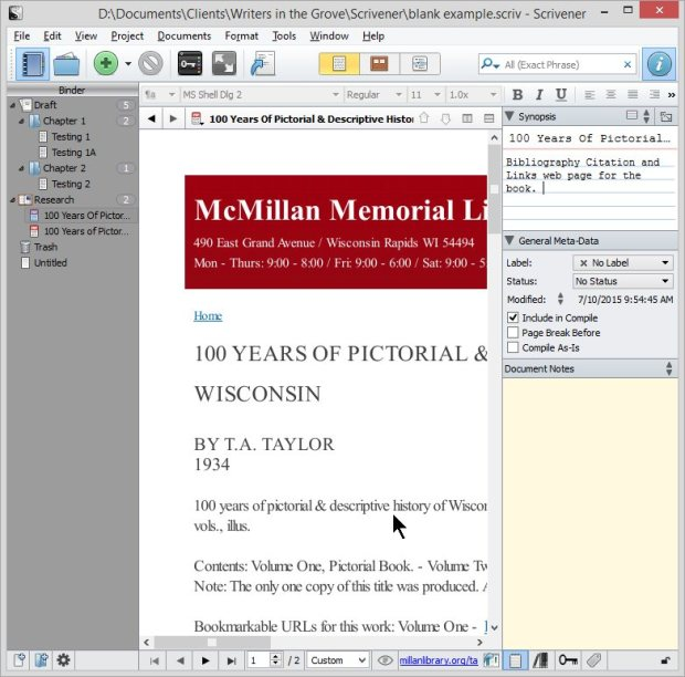 Scrivener - Research - PDF of Web Page - Inspector Synopsis - Lorelle VanFossen