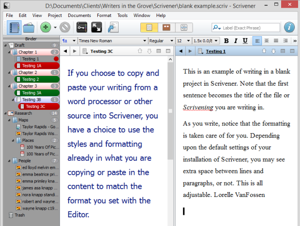 Scrivener - Splilt Screen View of formatted text examples - Lorelle