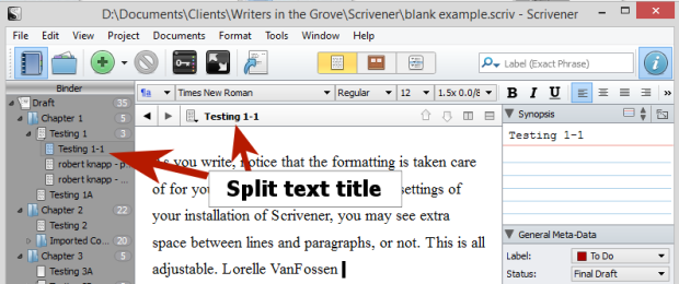 Scrivener - Split Document Default Title - Lorelle