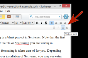 Scrivener - Split Screen buttons on interface - Lorelle VanFossen