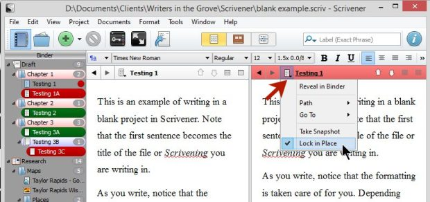 Scrivener - Split Screen - Lock in Place - Lorelle